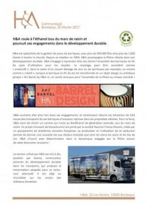H&A roule au bioéthanol - Communqiué de Presse